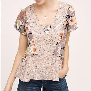 Anthropologie Floral Peplum En Elle Blouse